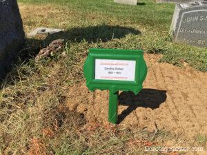 Temporary grave marker on Parker grave.